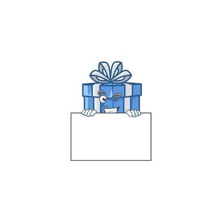 Grinning blue gift box cartoon character style hides behind a board. Vector illustration Illusztráció