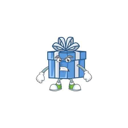 Blue gift box cartoon character style with angry face. Vector illustration Standard-Bild - 135395625