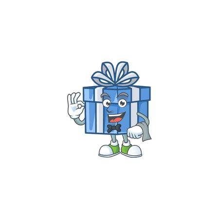 Blue gift box Character on A stylized Waiter look. Vector illustration