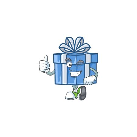 Picture of blue gift box making Thumbs up gesture. Vector illustration
