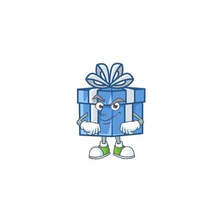 Blue gift box mascot cartoon style with Smirking face. Vector illustration