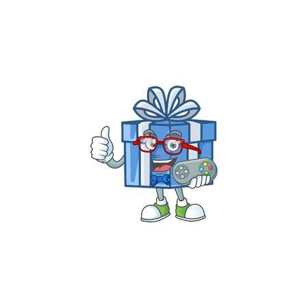 cute geek gamer blue gift box cartoon character style. Vector illustration