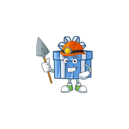 Cool Miner blue gift box cartoon mascot design style. Vector illustration