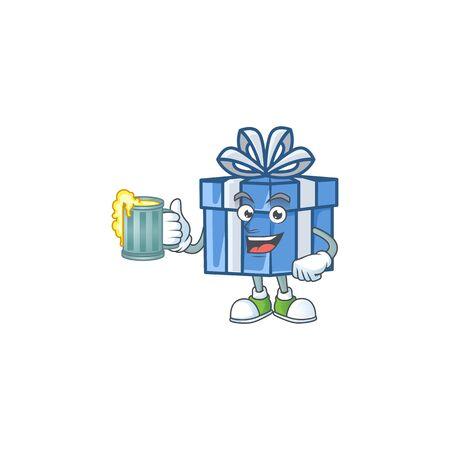Happy blue gift box holding a glass of beer. Vector illustration Ilustração