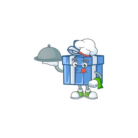 smiling blue gift box as a Chef with food cartoon style design. Vector illustration