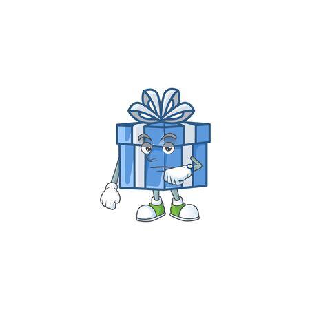 Waiting blue gift box on cartoon mascot style design. Vector illustration Vectores