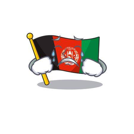 Triste drapeau afghanistan qui pleure Conception de personnage de dessin animé de défilement. Illustration vectorielle