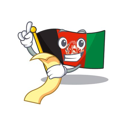 Flag afghanistan Scroll cartoon character holding menu ready to serve. Vector illustration