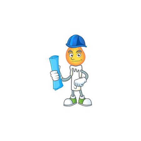 Cheerful Architect white candle cartoon character having blue prints. Vector illustration