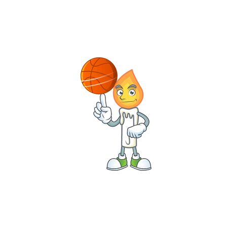 Happy face white candle cartoon character playing basketball. Vector illustration