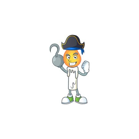 one hand Pirate white candle cartoon character wearing hat