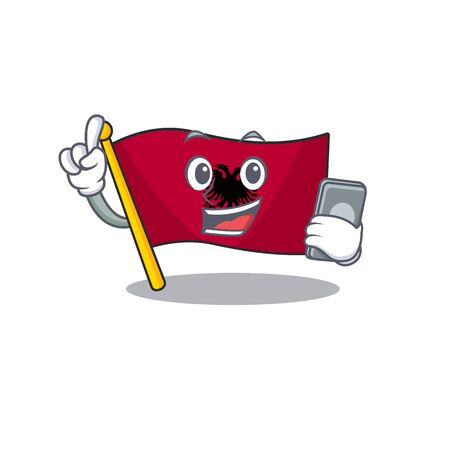 cartoon character of flag albania Scroll speaking with phone. Vector illustration