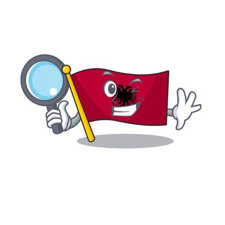Smart flag albania Scroll Detective cartoon character design. Vector illustration