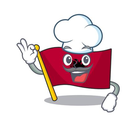Funny Chef flag albania Scroll cartoon character wearing white hat. Vector illustration