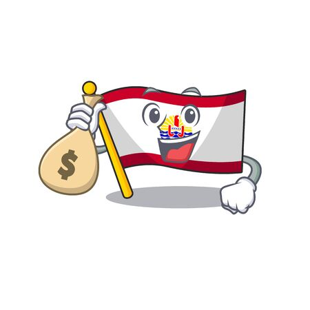 Smiley flag french polynesia Scroll cartoon character with money bag. Vector illustration 版權商用圖片 - 135479970