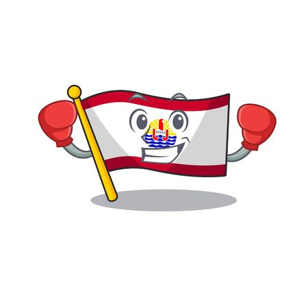 Happy Boxing flag french polynesia Scroll mascot character style. Vector illustration