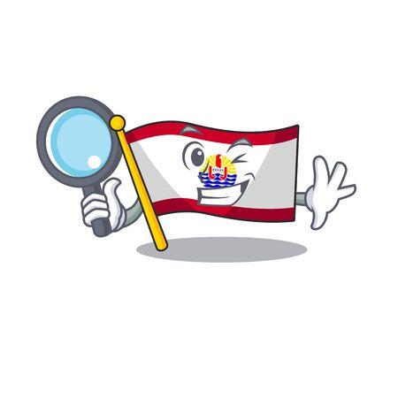 Smart flag french polynesia Scroll Detective cartoon character design. Vector illustration Illustration