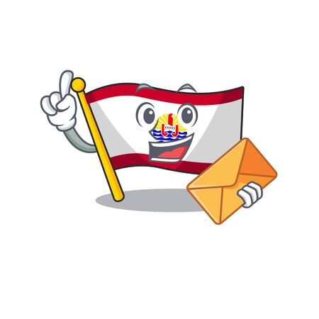 Happy face flag french polynesia Scroll mascot design with envelope. Vector illustration