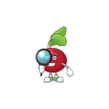 Smart One eye red beet greens Detective cartoon character design