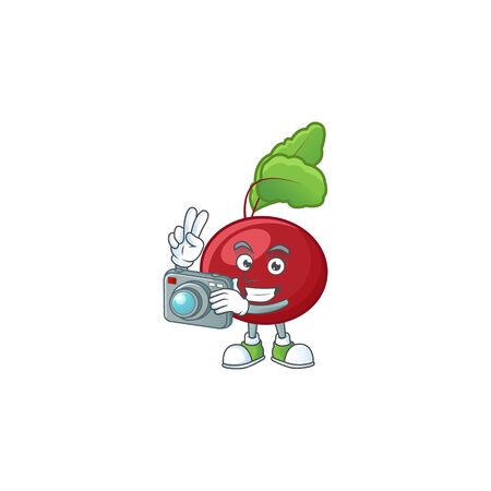 Smart Photographer red beet greens cartoon mascot with a camera. Vector illustration