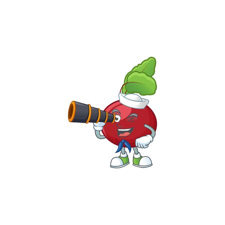 Picture of Smiling happy Sailor red beet greens with binocular. Vector illustration