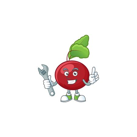 Smart and Professional Mechanic red beet greens cartoon character. Vector illustration