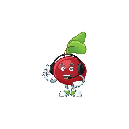 Red beet greens cute cartoon character design with headphone. Vector illustration  イラスト・ベクター素材