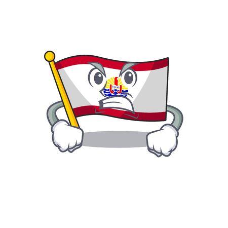 angry face flag french polynesia Scroll cartoon character design. Vector illustration Standard-Bild - 135461586