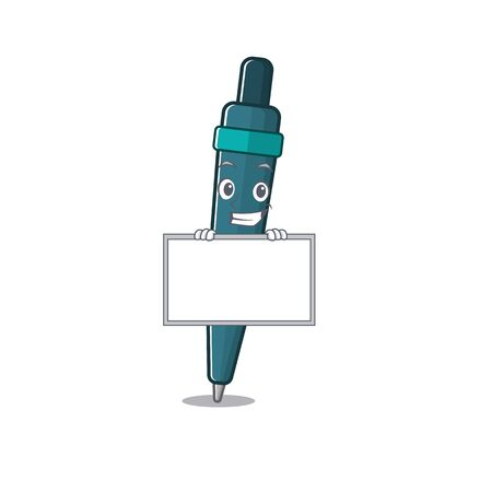Fountain pen Scroll cartoon character style grinning with board. Vector illustration
