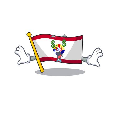 Flag french polynesia Scroll with Money eye cartoon character style. Vector illustration Illustration