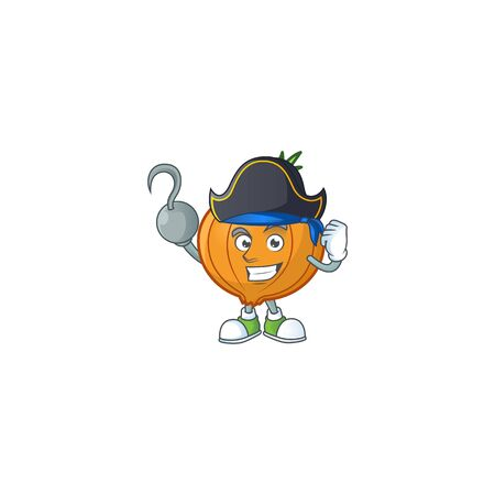 one hand Pirate shallot cartoon character wearing hat