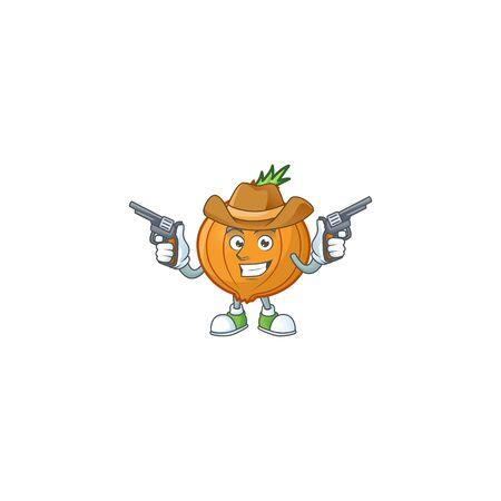 Smiling shallot mascot icon as a Cowboy holding guns 向量圖像