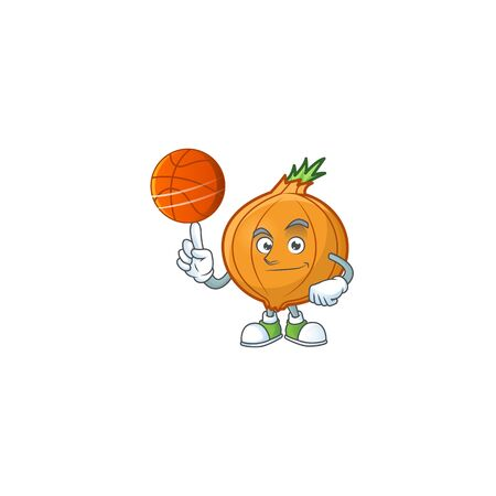 Happy face shallot cartoon character playing basketball. Vector illustration