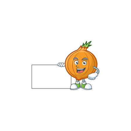 cute shallot cartoon character with a board. Vector illustration