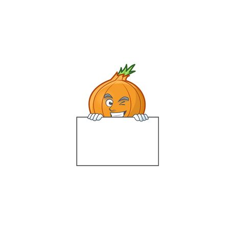 Grinning shallot cartoon character style hides behind a board. Vector illustration