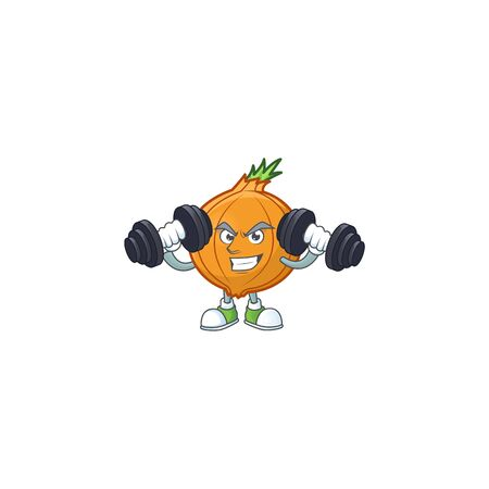 Fitness exercise shallot mascot icon with barbells. Vector illustration
