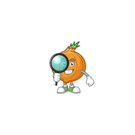 Smart One eye shallot Detective cartoon character design