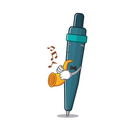 Fountain pen Scroll cartoon character design performance with trumpet. Vector illustration