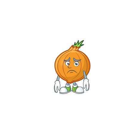 Afraid shallot Cartoon character mascot design style. Vector illustration