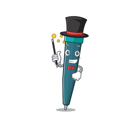 Mascot of fountain pen Scroll performance as a Magician style. Vector illustration