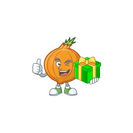 cartoon character of happy shallot with gift box. Vector illustration