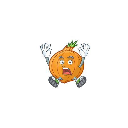 Cartoon character of shallot style with shocking gesture. Vector illustration 向量圖像