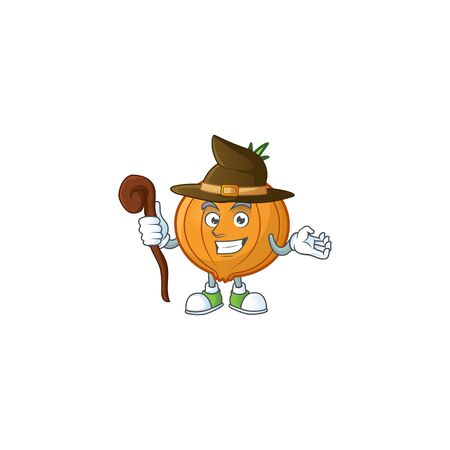 Happy Face Witch shallot cartoon character style. Vector illustration