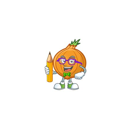 Cool smart Student shallot mascot with a pencil. Vector illustration