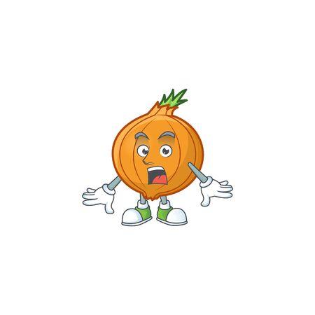 Surprised shallot gesture on cartoon mascot design. Vector illustration 向量圖像