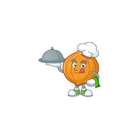 Cute shallot as a Chef with hat and tray cartoon style design. Vector illustration