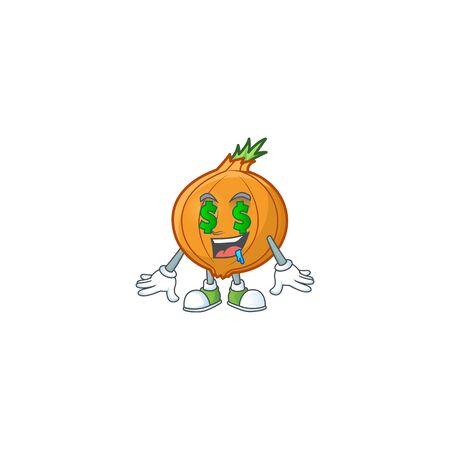 Cute shallot with Money eye cartoon character design 向量圖像