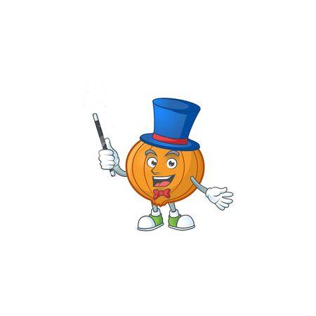 Cartoon character of shallot performance as a Magician. Vector illustration 向量圖像