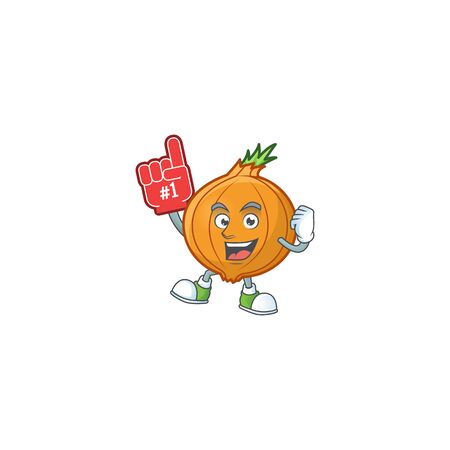 Funny shallot mascot cartoon style with Foam finger. Vector illustration
