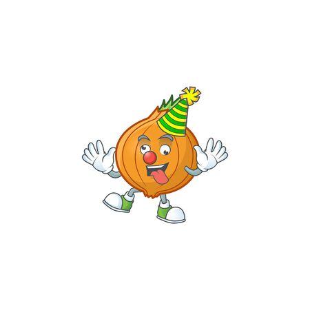 Funny Clown shallot on cartoon character mascot design. Vector illustration